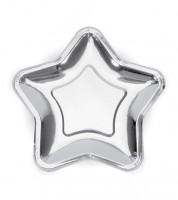 Stern-Pappteller - metallic silber - 6 Stück
