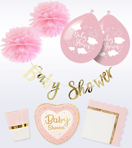 "Babyparty Deko-Set ""So Sweet"" - rosa - 41-teilig"