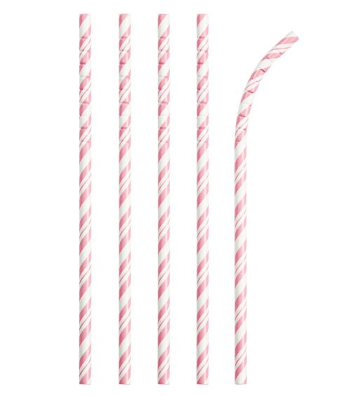 Flexible Papierstrohhalme mit Streifen - rosa - 24 Stück