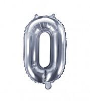 """Folienballon Zahl """"0"""" - silber - 35 cm"""