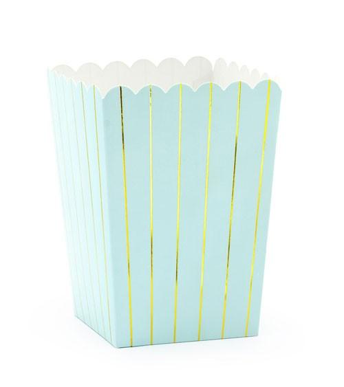 Popcornboxen mit goldenen Streifen - hellblau - 6 Stück