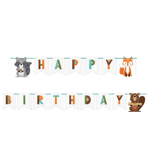 "Happy Birthday Girlande ""Wild One Woodland"" - 2,5 m"