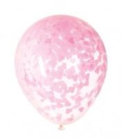 Transparente Ballons mit rosa Herz-Konfetti - 5 Stück