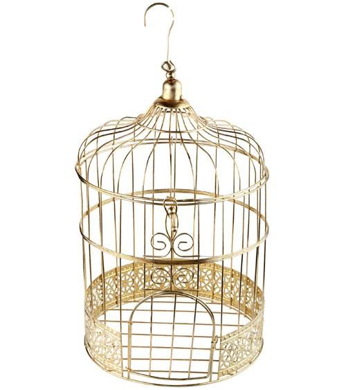 Deko-Vogelkäfig - gold - 20 x 31 cm