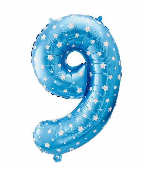 "Folienballon Zahl ""9"" - blau mit Sternen - 61 cm"