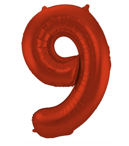 """Zahl-Folienballon """"9"""" - matt rot - 86 cm"""