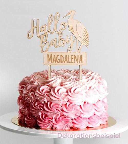 """Dein Cake-Topper """"Hallo Baby - Storch"""" aus Holz - Wunschtext"""