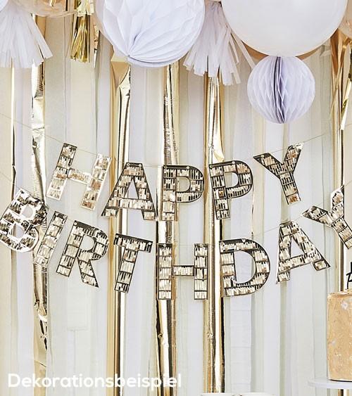 Happy Birthday Girlande mit Fransen - metallic gold - 2-teilig