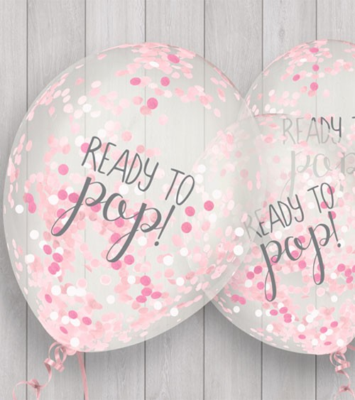 """Konfetti-Ballons """"Ready to pop"""" - rosa - 5 Stück"""