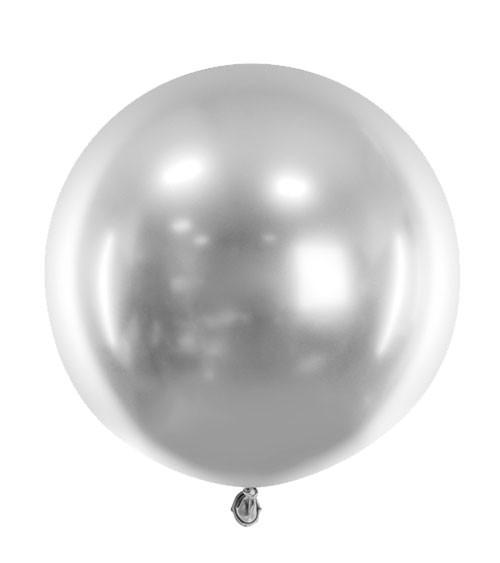 Runder Glossy-Ballon - silber - 60 cm