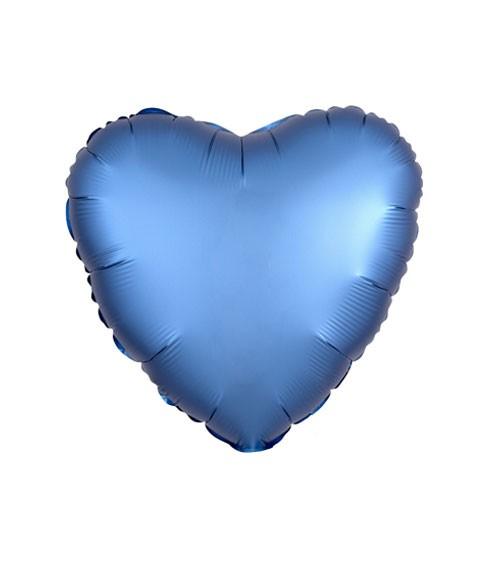 """Herz-Folienballon """"Satin Luxe"""" – blau – 43 cm"""