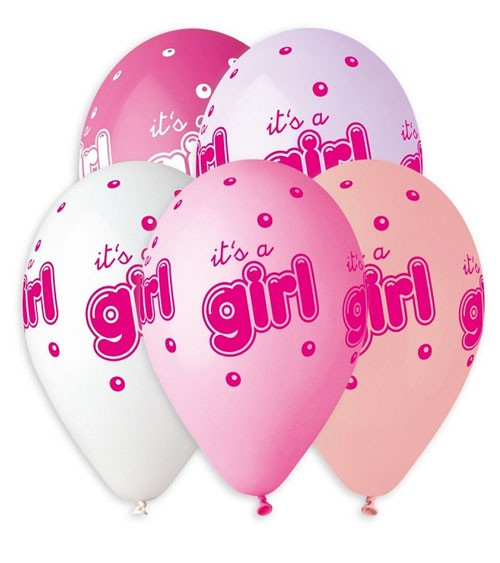 "Luftballon-Set ""It's a Girl"" - Farbmix - 5 Stück"
