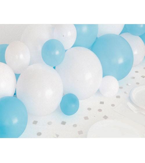 Ballongirlande & Konfetti - weiß, blau, silber - 40-teilig