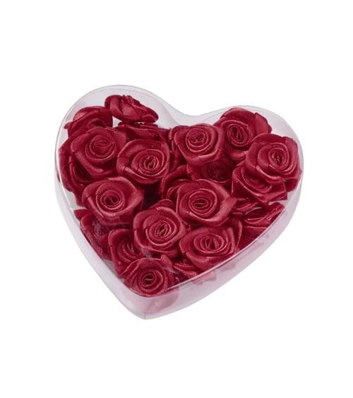 Satin-Rosen zum Streuen in Herzbox - bordeaux - 2 cm - 30 Stück