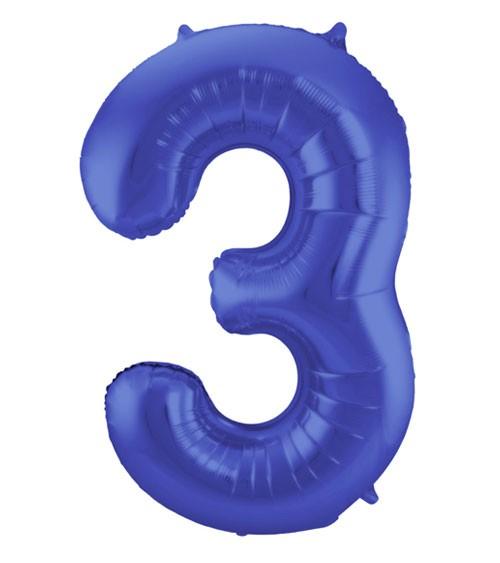 "Zahl-Folienballon ""3"" - matt blau - 86 cm"