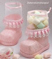 """Geschenkverpackung aus Bast """"Babyschühchen - rosa"""""""