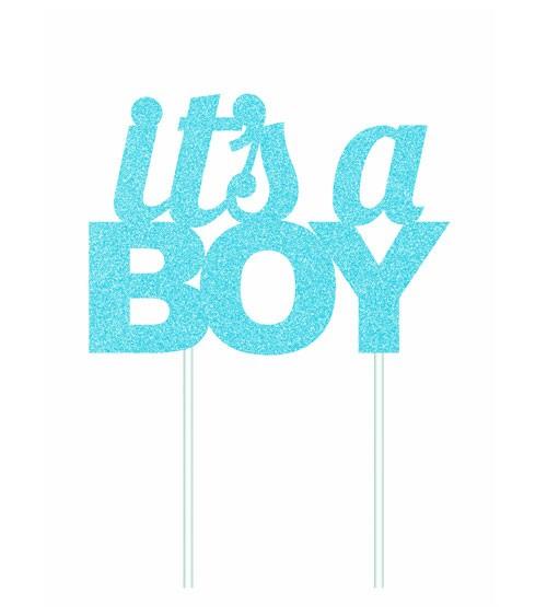 "Kuchen-Topper aus Papier ""It's a Boy"" - glitter hellblau"