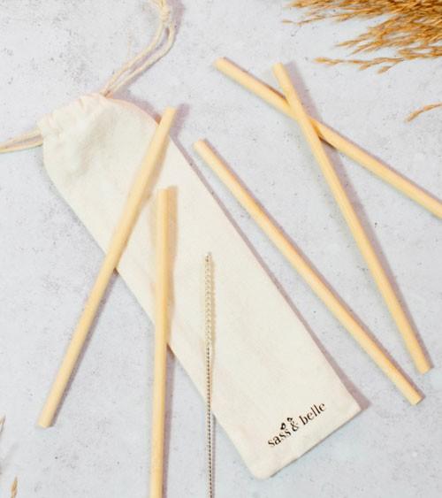 Bambus-Trinkhalme mit Stoffbeutel und Bürste - 6 Stück
