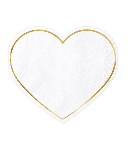 Weiße Herz-Servietten mit goldenem Rand - 20 Stück