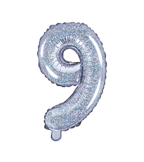 "Folienballon Zahl ""9"" - holographic - 35 cm"