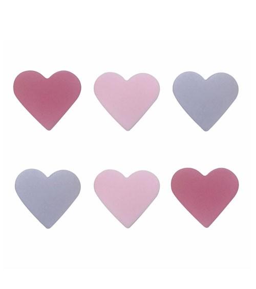 "Zuckerdekor ""Herzen"" - pink, rosa, lavendel - 6 Stück"
