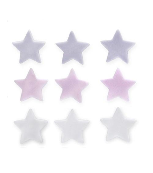 """Zuckerdekor """"Sterne"""" - lavendel, rosa, weiß - 9 Stück"""