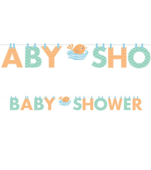 "Baby Shower-Girlande ""Hello Baby - blau"" - 2,42 m"