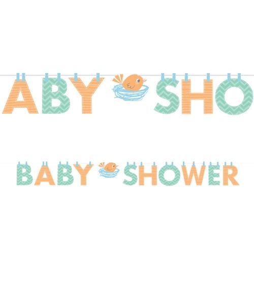 "Baby Shower-Girlande ""Hello Baby - blau"" - 2,42 m"