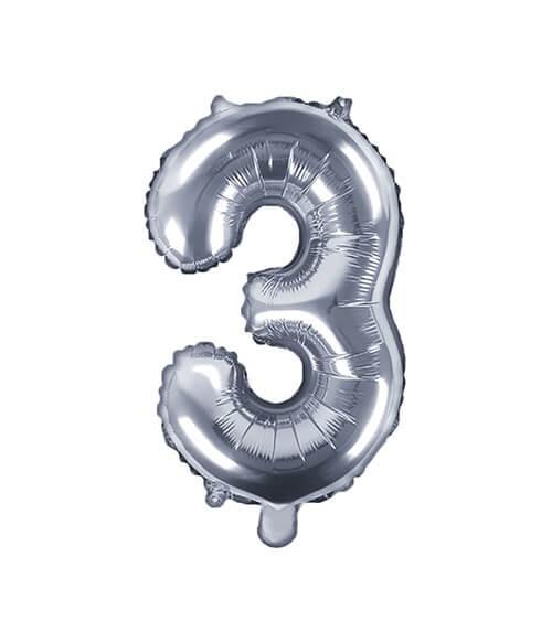 """Folienballon Zahl """"3"""" - silber - 35 cm"""