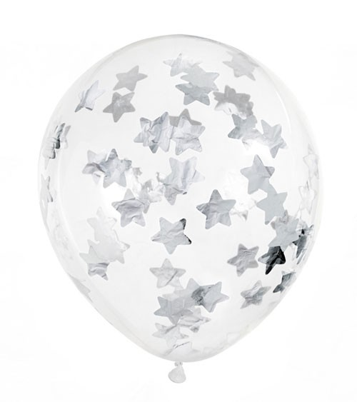 Transparente Ballons mit silbernem Stern-Konfetti - 6 Stück