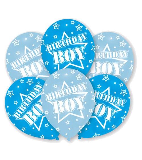 "Luftballon-Set ""Birthday Boy"" - hellblau/mittelblau - 6 Stück"