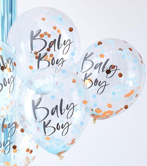 """Transparente Ballons mit Konfetti """"Baby Boy"""" - 5 Stück"""