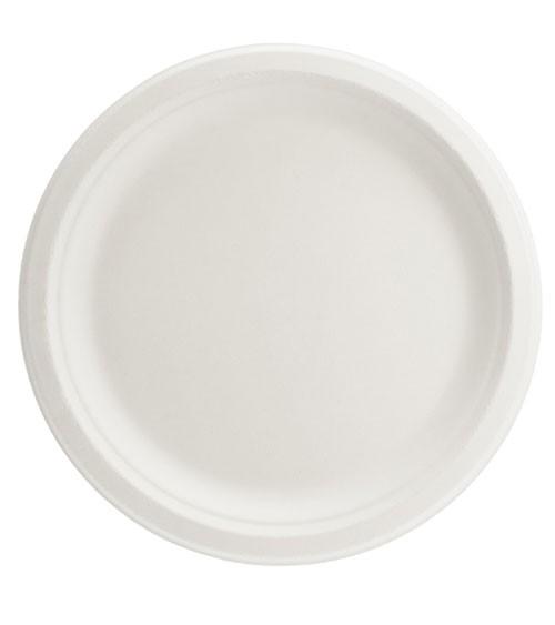 Zuckerrohr-Teller - weiß - 6 Stück