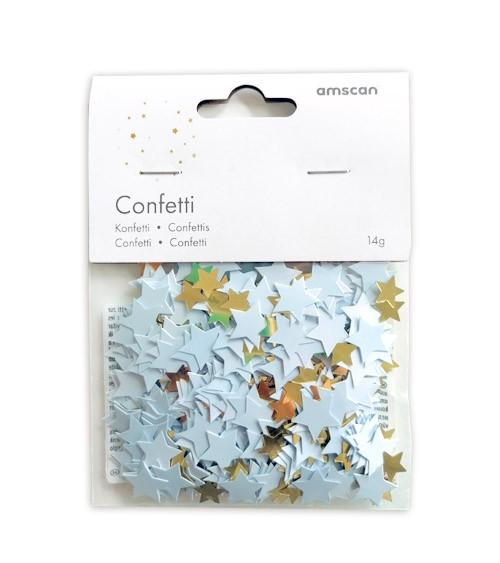 Konfetti-Sterne - hellblau ombre & gold metallic - 14 g