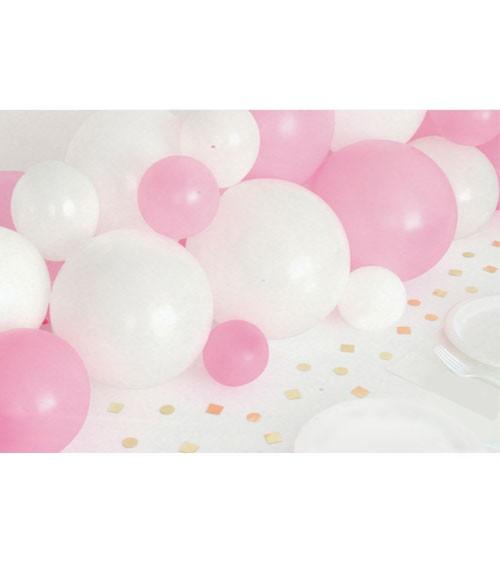 Ballongirlande & Konfetti - weiß, rosa, gold - 40-teilig