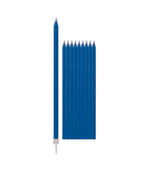 Lange Kuchenkerzen - dunkelblau - 15,5 cm - 10 Stück