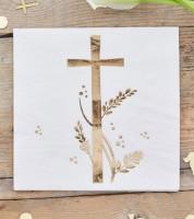 Servietten mit goldenem Kreuz - 20 Stück