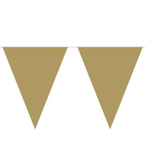 XL-Wimpelgirlande aus Kunststoff - gold - 10 m