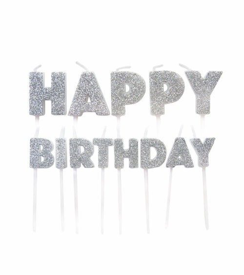 "Kuchenkerzen-Set ""Happy Birthday"" - glitter silber - 13-teilig"