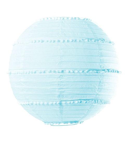 Lampion mit Pompons - 35 cm - hellblau