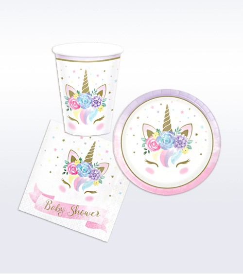 "Babyparty Deko-Set ""Unicorn"" - 32-teilig"