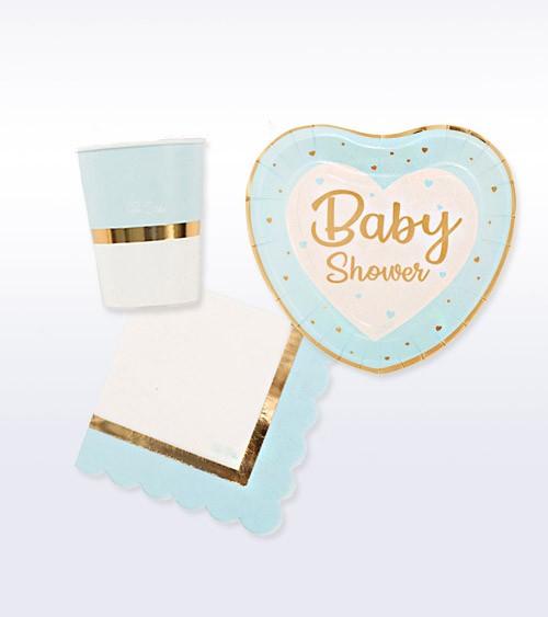 "Babyparty Deko-Set ""So sweet"" - pastellblau - 32-teilig"