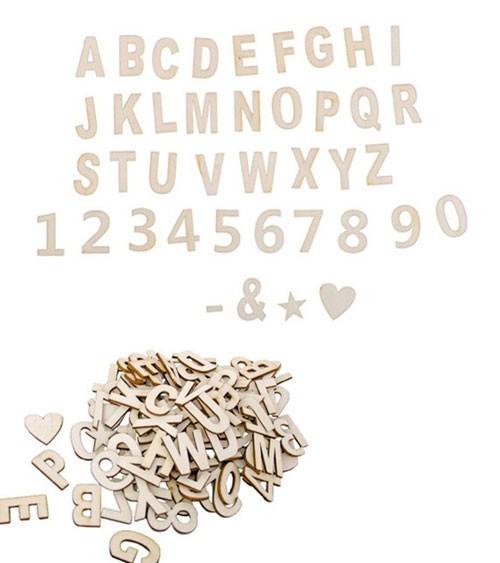 Selbstklebende Buchstaben & Zahlen aus Holz - 3 cm - 120-teilig
