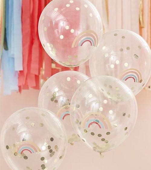 Konfetti-Ballons mit Regenbogen-Aufdruck - 5 Stück