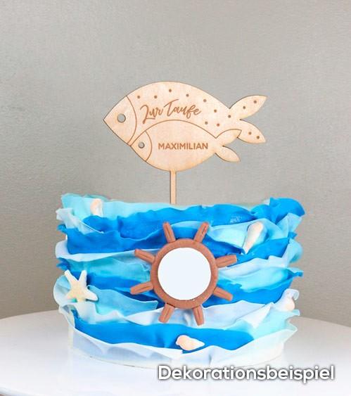 Dein Cake Topper Taufe Fische Aus Holz Wunschtext
