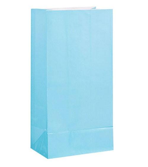 12 Papiertüten - pastellblau
