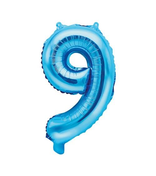 "Folienballon Zahl ""9"" - blau - 35 cm"