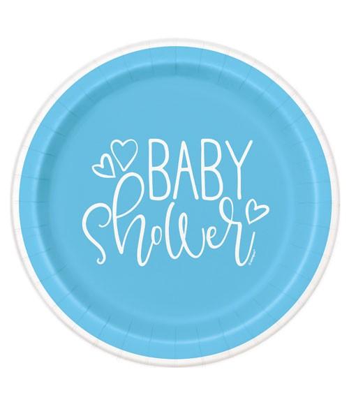 """Pappteller """"Baby Shower - blau"""" - 8 Stück"""