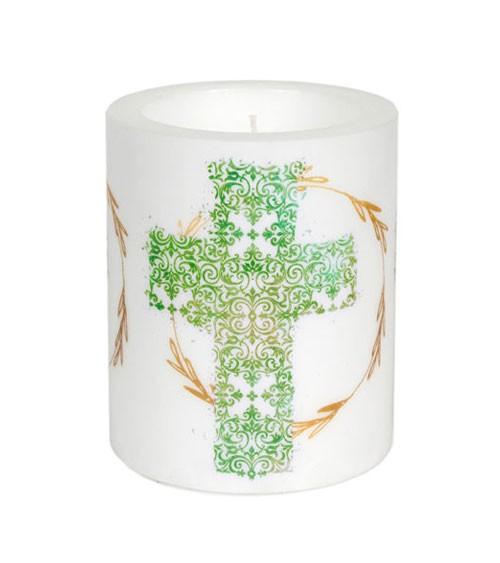 """Kerze """"Kreuz"""" - grün - 9,9 x 12 cm"""