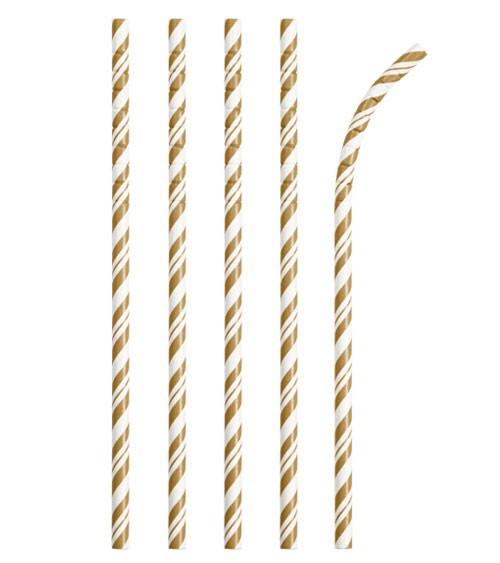 Flexible Papierstrohhalme mit Streifen - gold - 24 Stück
